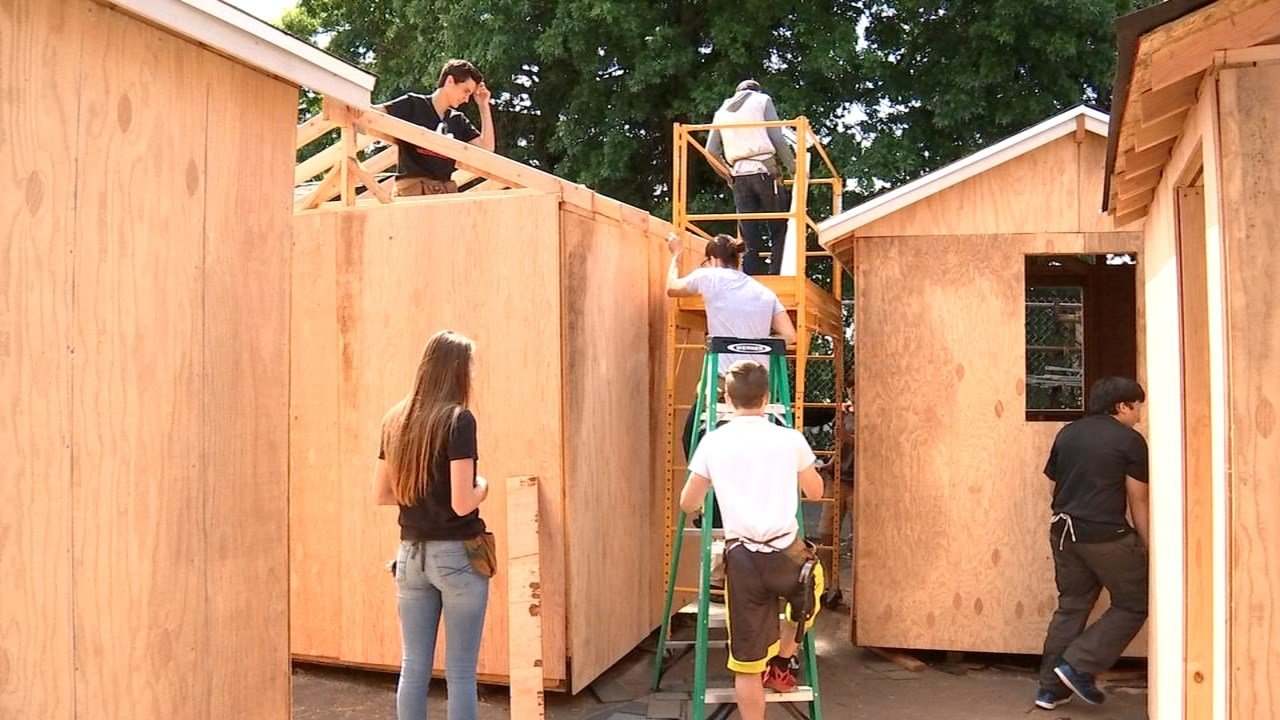 Students from Benson Polytechnic High School building tiny homes for Portland's homeless community. (KPTV)