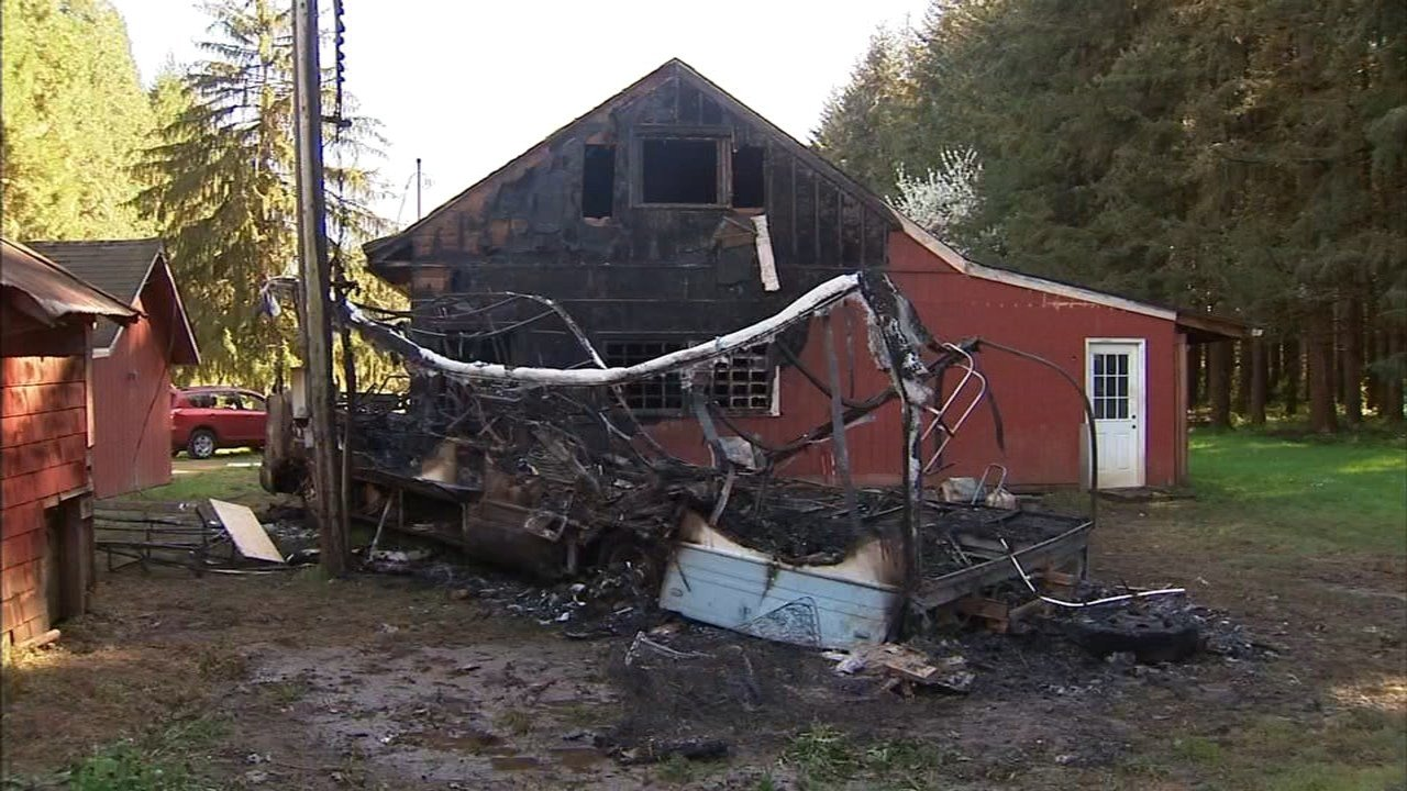 Investigators believe a man who died in an RV fire near Gervais was looking for a place to sleep when he hit a rural barn and got stuck in the mud. (Source: Marion County Sheriff's Office)