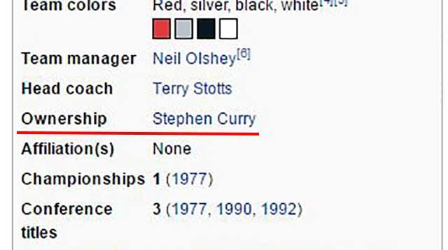 Screenshot of an edited version of the Trail Blazers' Wikipedia page following the team's loss to the Golden State Warriors Monday night. (Source: Wikipedia)