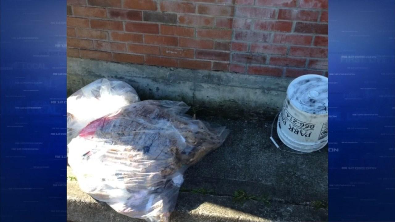 Bucket used by suspect to break into Smoke N Stuff in southeast Portland. (KPTV)