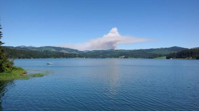 Photo of controlled burn taken from Hagg Lake. (Photo: Forest Grove Fire & Rescue)