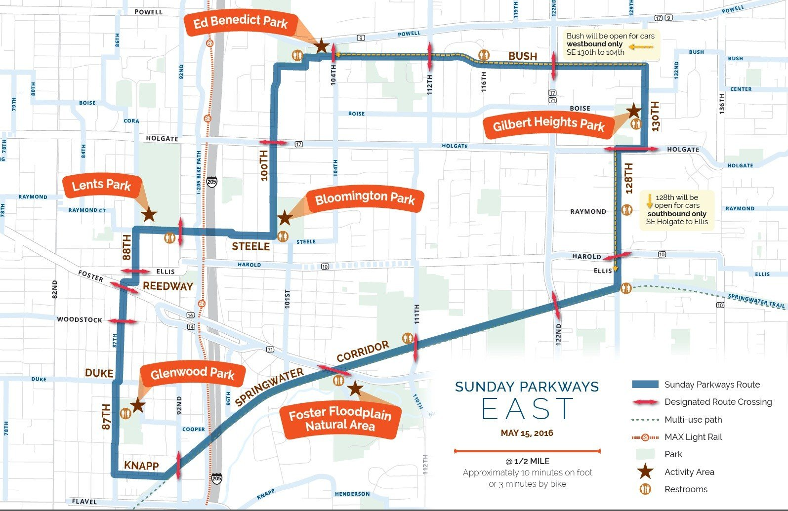 Map of E. Portland Sunday Parkways route