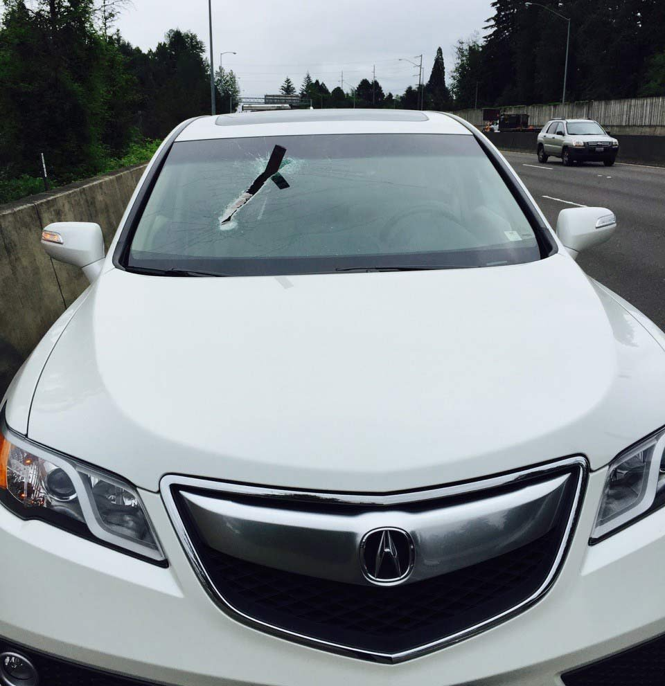 A piece of metal impaled a car's windshield on Highway 26 on Monday. Photo: Beaverton Police Department