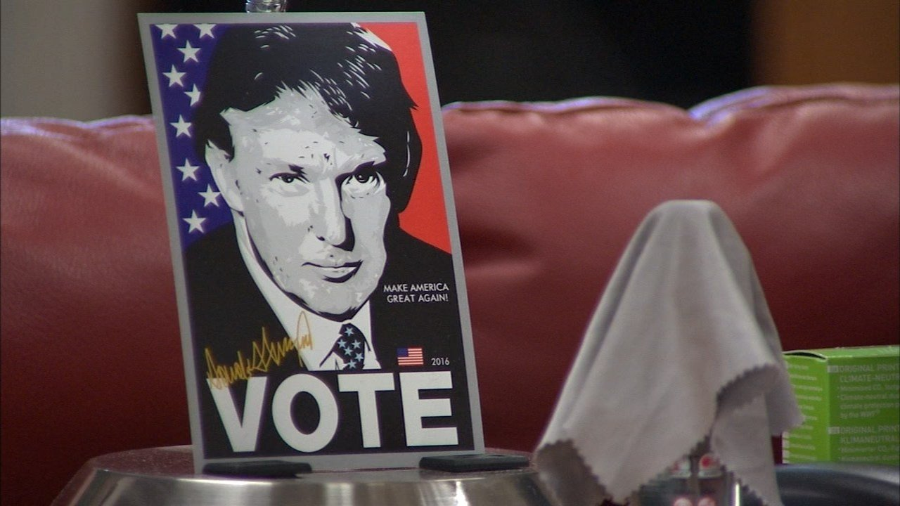 Staff at a Tigard campaign office for Republican candidate Donald Trump said they have dealt with vandals defacing signs and protests outside their office. (KPTV)