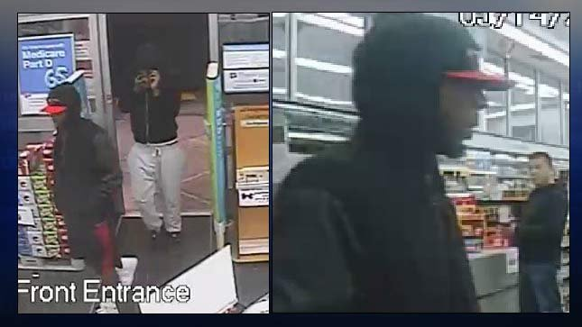 Surveillance images of wanted armed robbery suspects at Walgreens in Tigard. (Photos: Tigard PD)