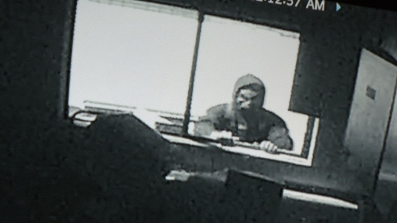 Surveillance image of break-in at north Portland marijuana dispensary.