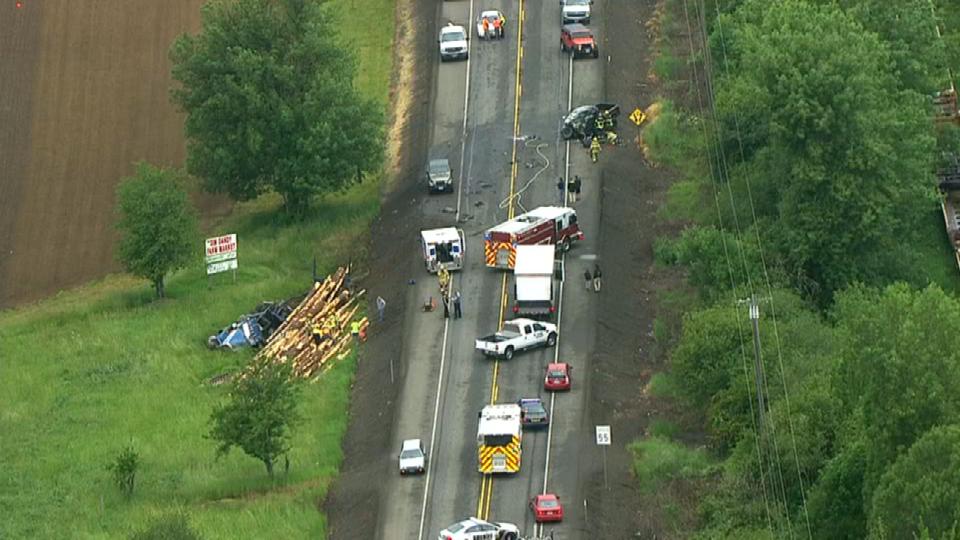 Air 12 over the scene on Hwy 26