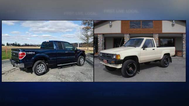 Photos of similar trucks involved in road rage incident on I-205. (Photos: Oregon State Police)