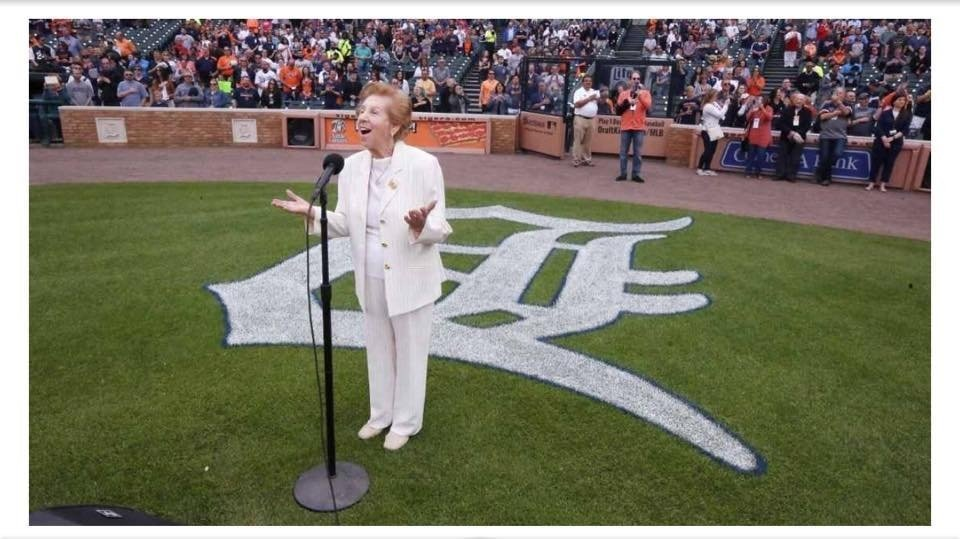 89-year-old Holocaust survivor Hermina Hirsch performs at a Detroit Tigers game.