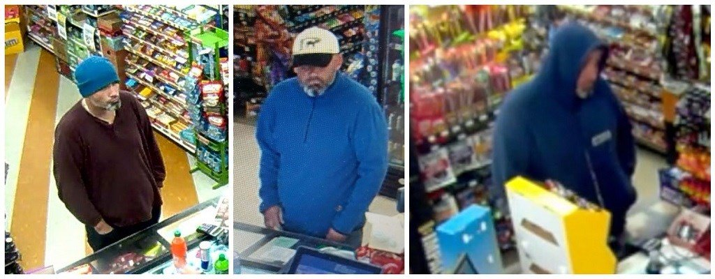 Surveillance images from three Portland convenience store robberies. (Image: Portland Police Bureau)