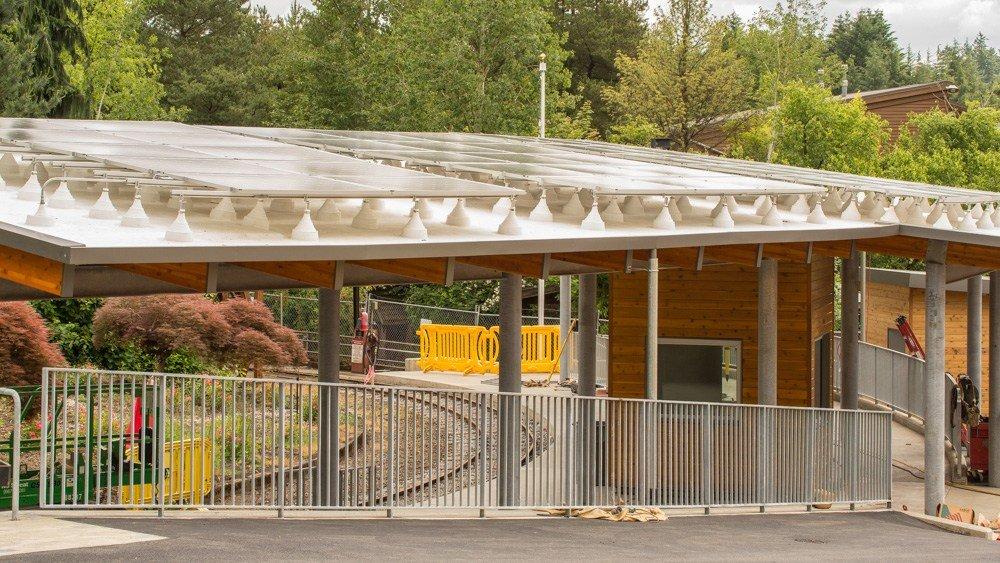 The renovated train station at the Oregon Zoo will feature 96 solar panels on the roof and will use sustainable wood for the canopy. (Oregon Zoo)