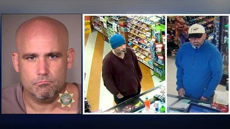 Jail booking photo of Brandon Lamb, as well as two surveillance images from early morning convenience store robberies Tuesday. (Photos: Portland Police Bureau)