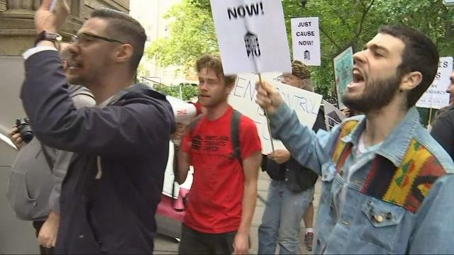 Protesters rally outside awards dinner for landlords, property managers