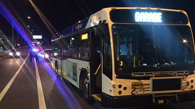 A bus stolen in southeast Portland was stopped in the Milwaukie area early Tuesday morning. (Photo: Clackamas County Sheriff's Office)