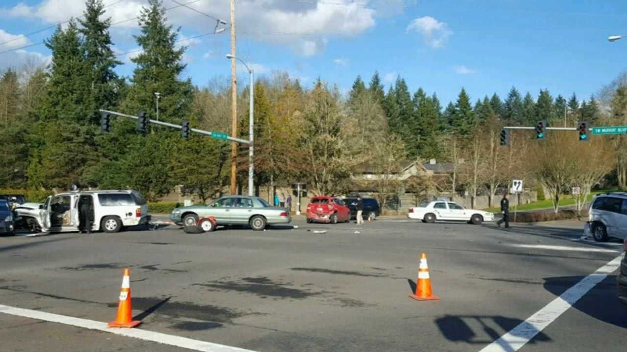 Six-car crash in Beaverton in March. (Photo: Beaverton PD)