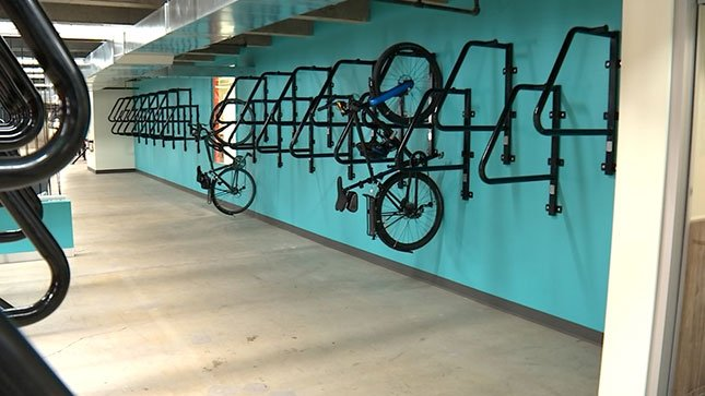The Lloyd Cycle Station opened in northeast Portland's Lloyd District Wednesday and offers 600 secure bike parking spaces. (KPTV)