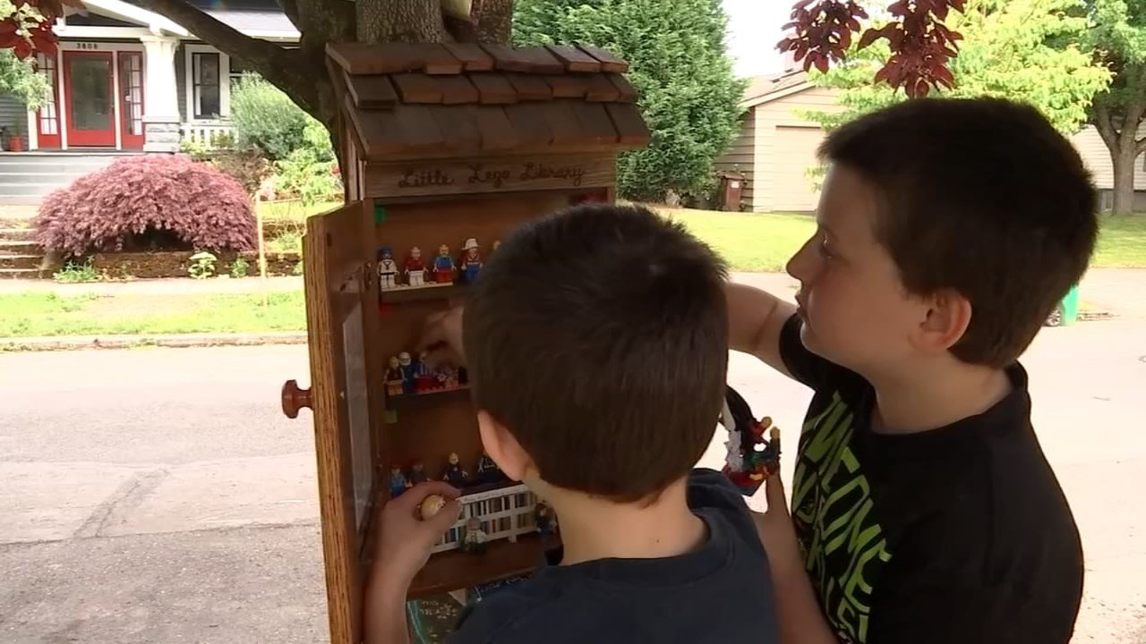 The Little Lego Library off North Massachusetts Avenue near Failing Street in Portland gives fans a chance to swap and share their min-figs. (KPTV)