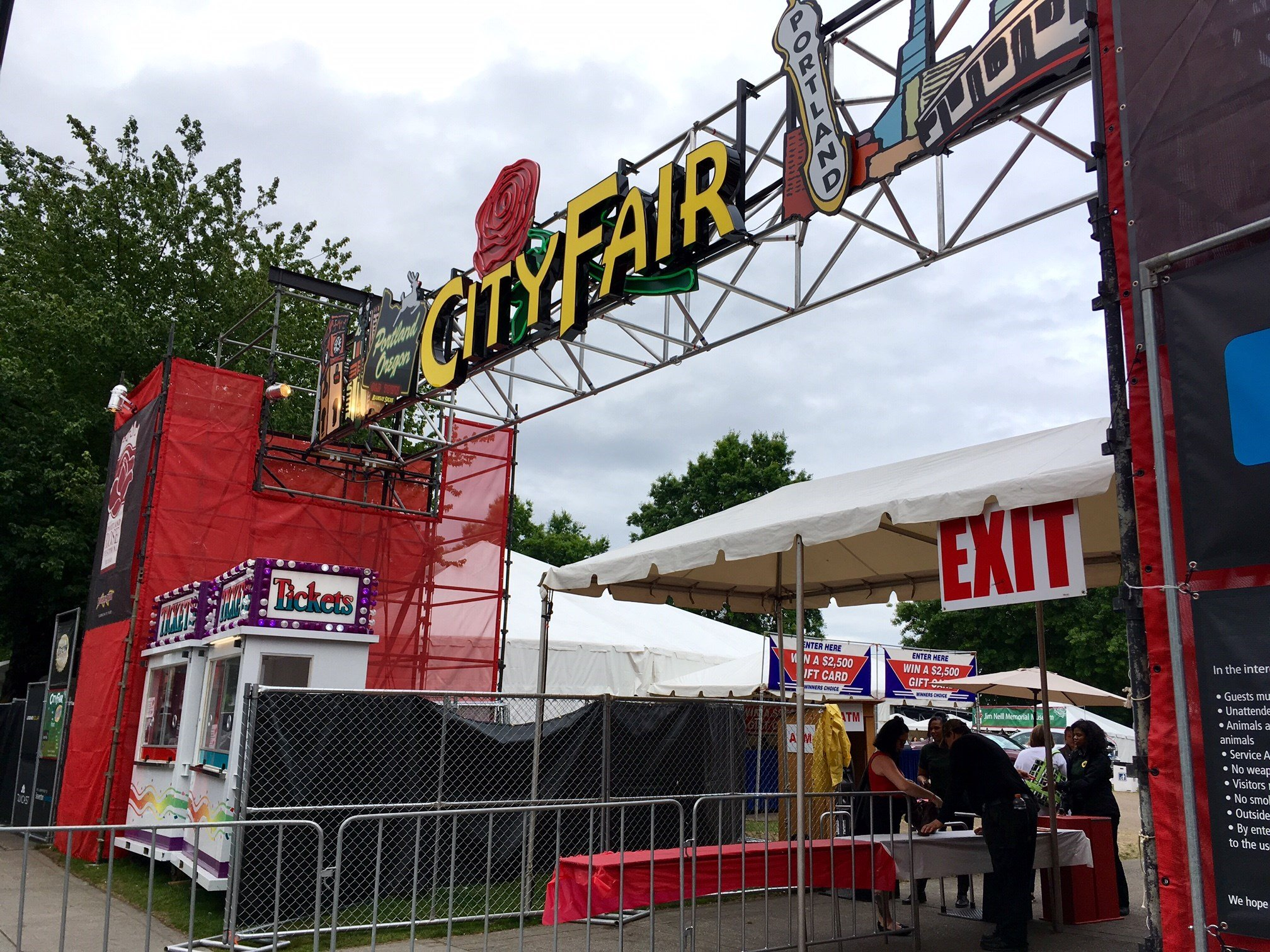 The entrance to City Fair Thursday. (KPTV)