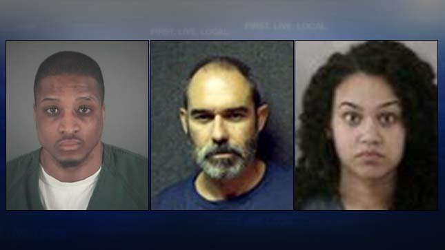 Booking photos, from left, of A.J. Scott Nelson, David Ray Taylor, Mercedes Crabtree. (Photos: Lane County Jail, Oregon Department of Corrections)