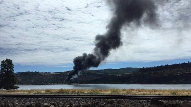 Viewer photo of smoke billowing from the scene of a train derailment in Mosier.