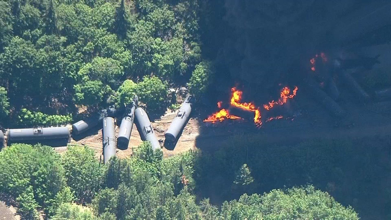 A fire burned in Mosier after a train derailment. Source: KPTV/Air 12