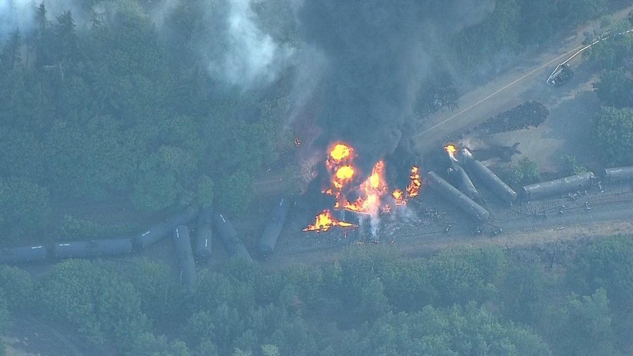 A fire burned in Mosier after a train derailment in June 2016. Source: KPTV/Air 12