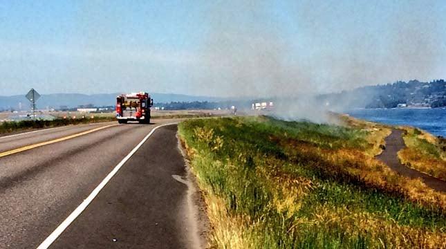 Grass fires on NE Marine Drive in Portland. (Photo: Portland Fire & Rescue)