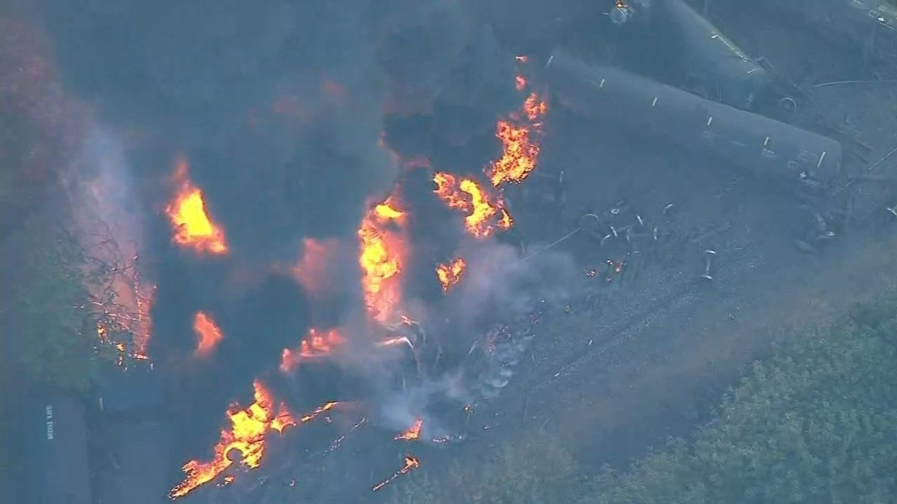 A train derailed near Mosier on Friday causing a massive fire and column of smoke that could be seen for miles. (Source: Air 12/KPTV)
