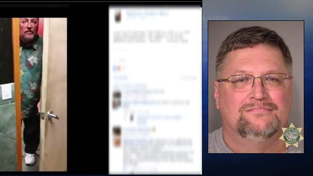 At left, Facebook post about a man walking into a unisex bathroom at a Gresham bar while a woman was inside. On right, jail booking photo of  Matthew Dziewiontkoski.