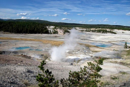 (AP Photo/Beth Harpaz, File). FILE - This September, 2009 file photo shows the Norris Geyser Basin in Yellowstone National Park, Wyo.