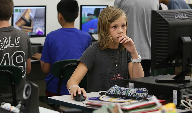 Elena Rezac, of William Annin Middle School, has been beta testing Microsoft's Minecraft: Education Edition. (Photo: Microsoft)