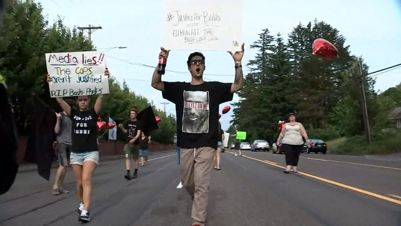 Protest against shooting death of Bodhi Phelps in Gresham on June 1. (Source: KPTV)