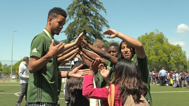 The entire Timbers 2 team paid a visit to Rosa Parks Elementary.