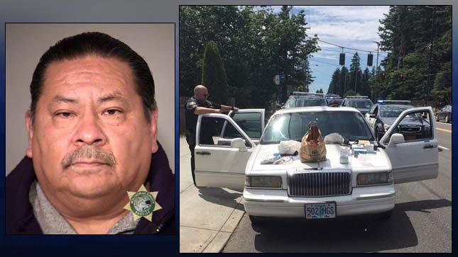 Octavio Perez jail booking photo and a photo of his car provided by the Portland Police Bureau.