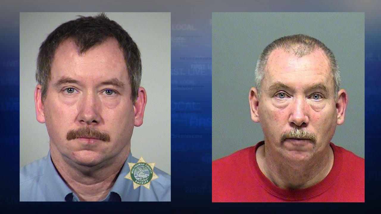 Booking photos of former Portland Fire & Rescue Lt. Kirk Stubblefield from January of 2012 and May of 2016, just before Stubblefield retired from the department. (Multnomah Co. Sheriff's Office and Clackamas Co. Sheriff's Office)