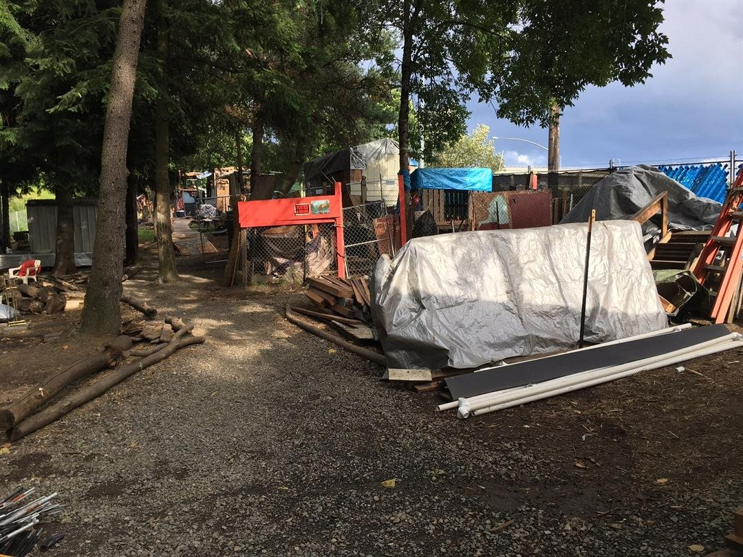 Part of the Hazelnut Grove camp in North Portland.