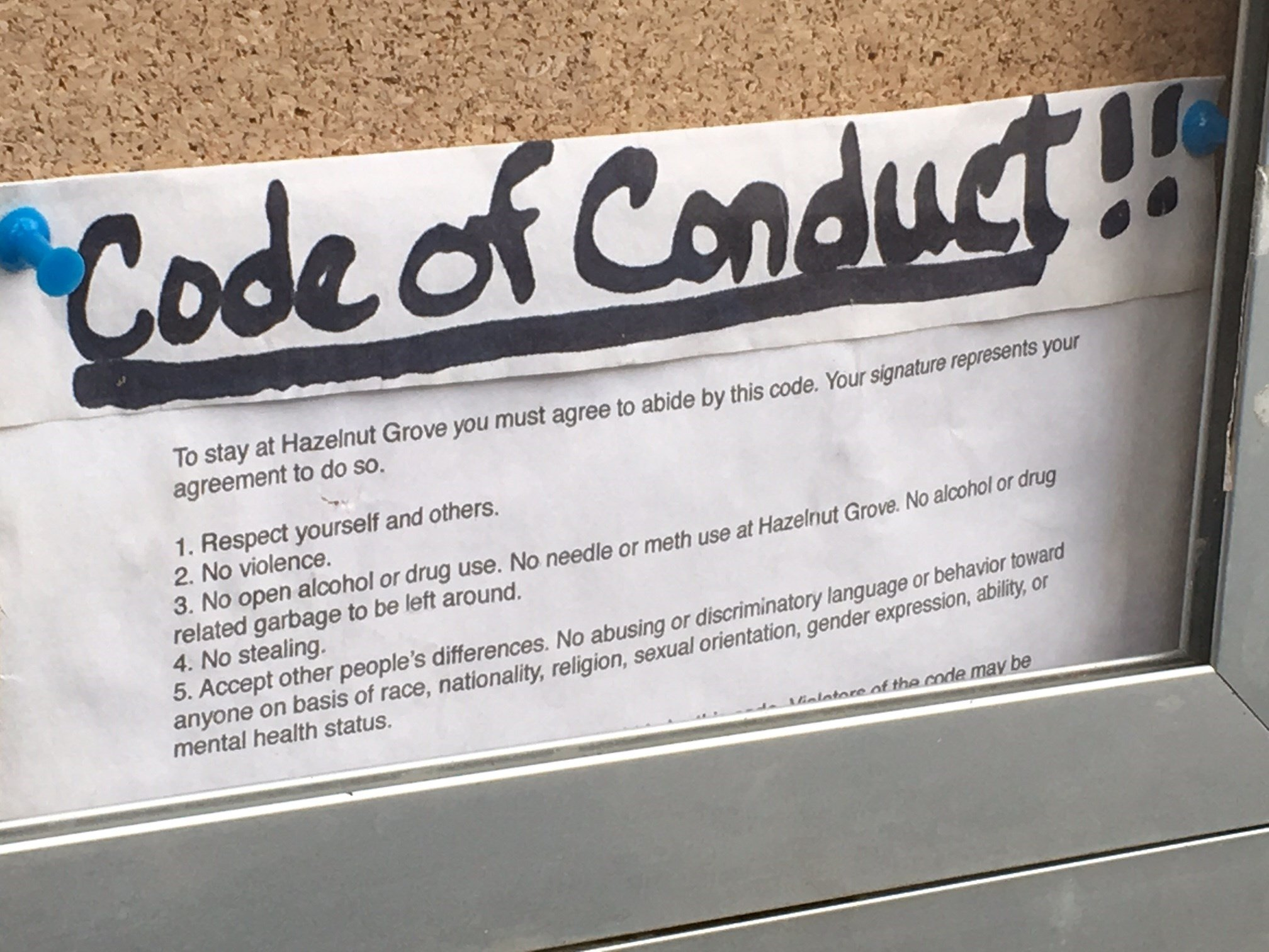 The code of conduct people at the camp agree to live by.