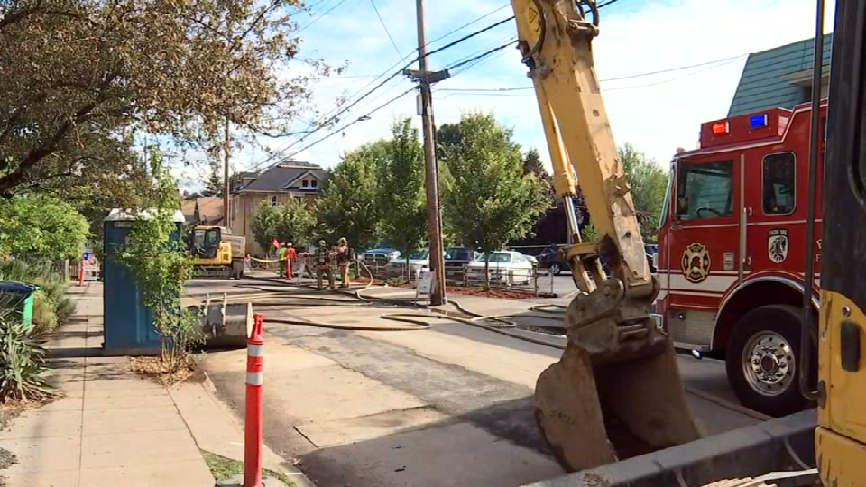 A construction crew hit a natural gas line near SE 45th Ave. and Hawthorne Blvd.