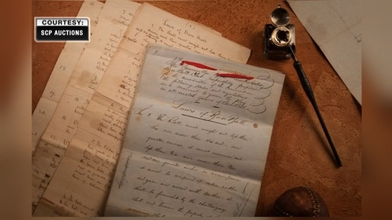 "The documents, written by Daniel Lucius ""Doc"" Adams in 1856, includes rules such as 90 foot basepaths, nine men per side and nine innings for a game. (SCP Auctions)"