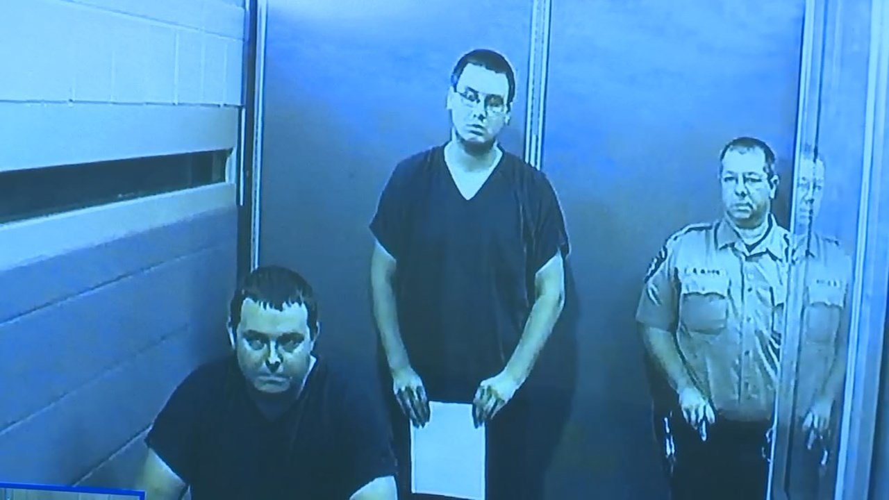 Robert Olsen, Jeremy Hopper appearing via video in court Monday. (Source: KPTV)