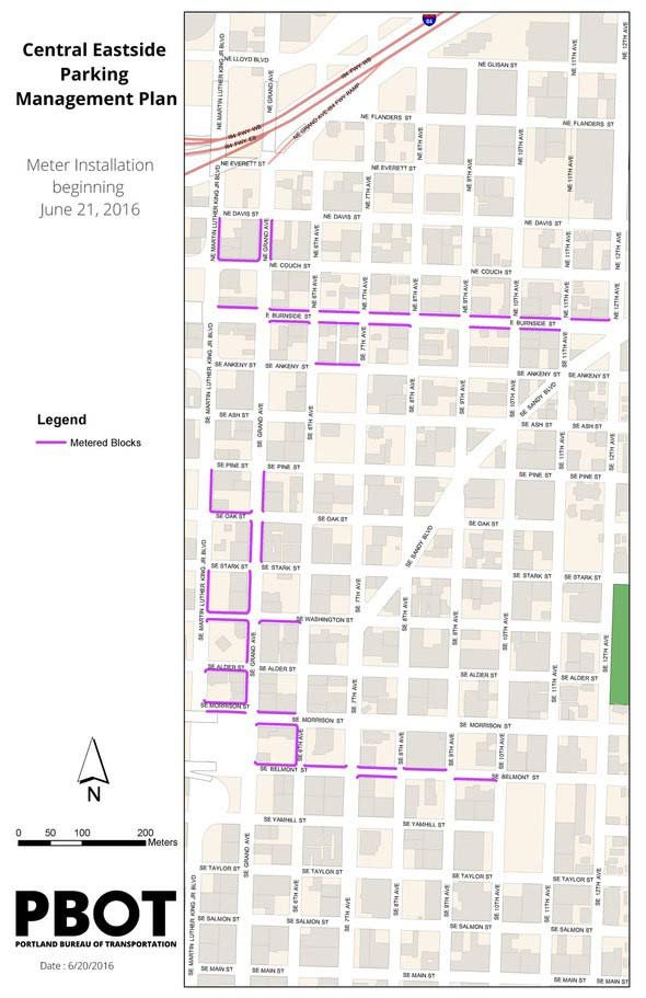 Map showing where new parking meters will be installed in Portland's Central Eastside Industrial District. (Image: Portland Bureau of Transportation)