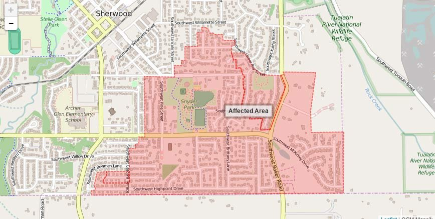 A boil water advisory issued for some homes in Sherwood was listed Wednesday. (Image: publicalerts.org)