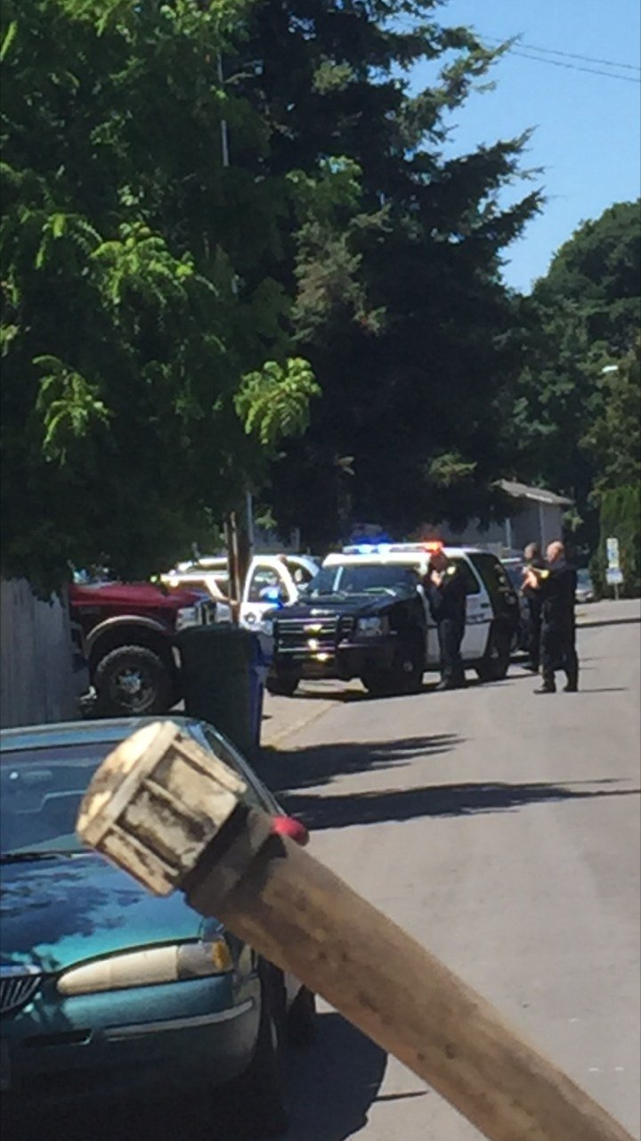 A picture of police swarming the stolen truck Tuesday, courtesy of the husband and wife trailing the suspects. (KPTV)