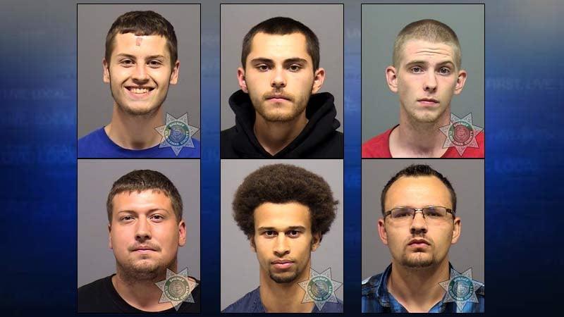 From top left: Zackaria Anderson, Tyler Becerra, Douglas Lines. From bottom Left: David Nash, Trevontae Anderson, Jonathan Wald. (Photos: Clackamas County Jail)