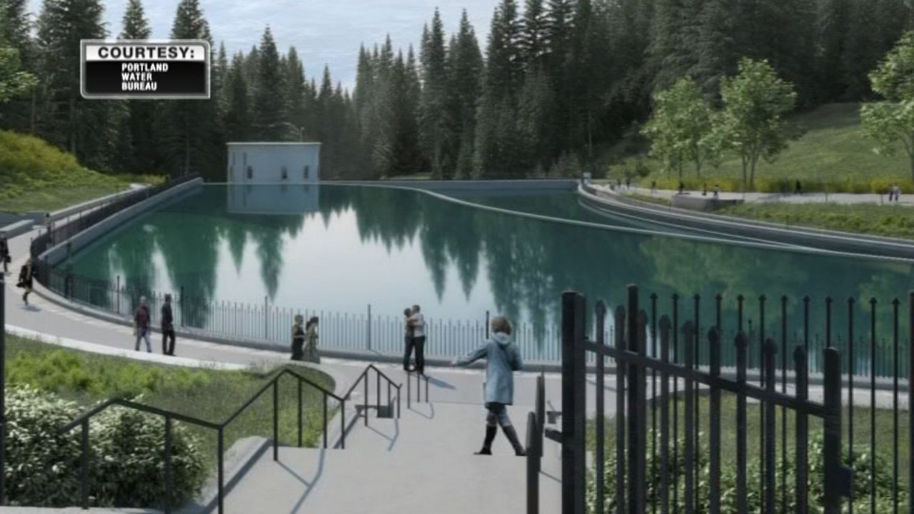 Mock-up of changes to be done to Washington Park reservoirs. (Photo: Portland Water Bureau)