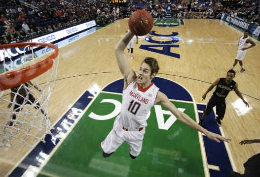 Maryland's Jake Layman (10) goes up to dunk against Florida State during the first half of an NCAA college basketball game in the second round of the Atlantic Coast Conference tournament in Greensboro, N.C., Thursday, March 13, 2014. AP Photo/Bob Leveron