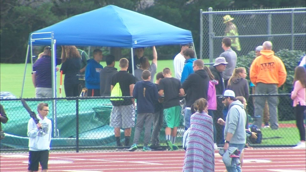 A 17-year-old was taken by helicopter to the hospital after tripping at a track meet and hitting a javelin with his eye. (KPTV)