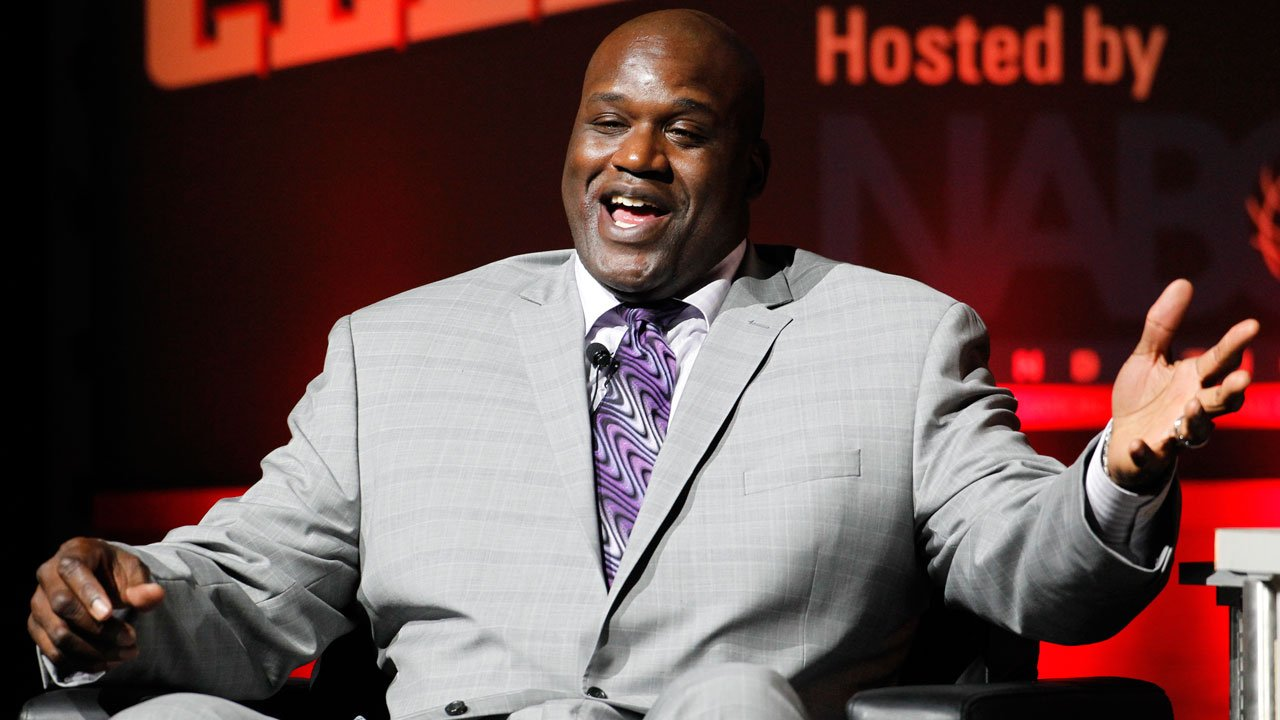 Louisiana State great Shaquille O'Neal reacts as he talks about his career during a National Collegiate Basketball Hall of Fame induction event, Sunday, Nov. 23, 2014, in Kansas City, Mo. (AP Photo/Colin E. Braley)