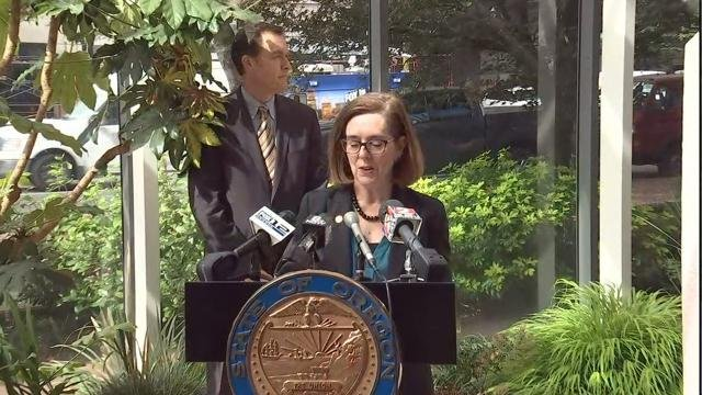 Oregon Gov. Kate Brown and Attorney General Ellen Rosenblum held a news conference Tuesday to announce the settlement (KPTV)