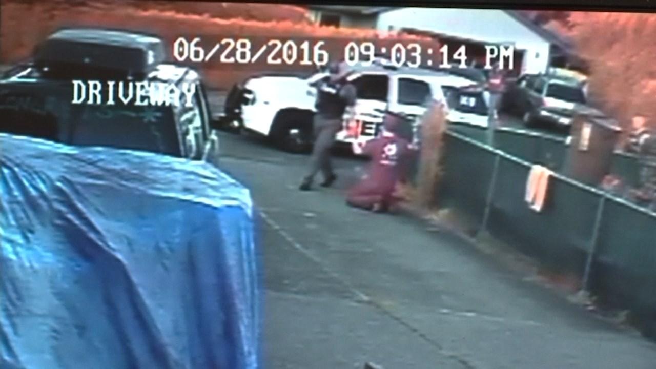 Surveillance image of murder suspect being arrested in Vancouver. (KPTV)